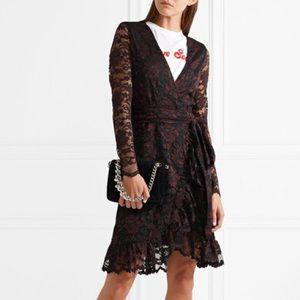 Ganni Flynn Lace mini wrap dress